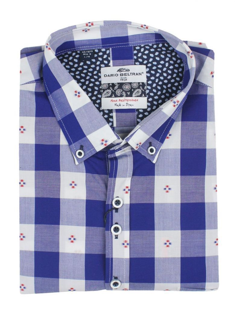 Dario Beltran Blue & White Check Regular Fit Shirt