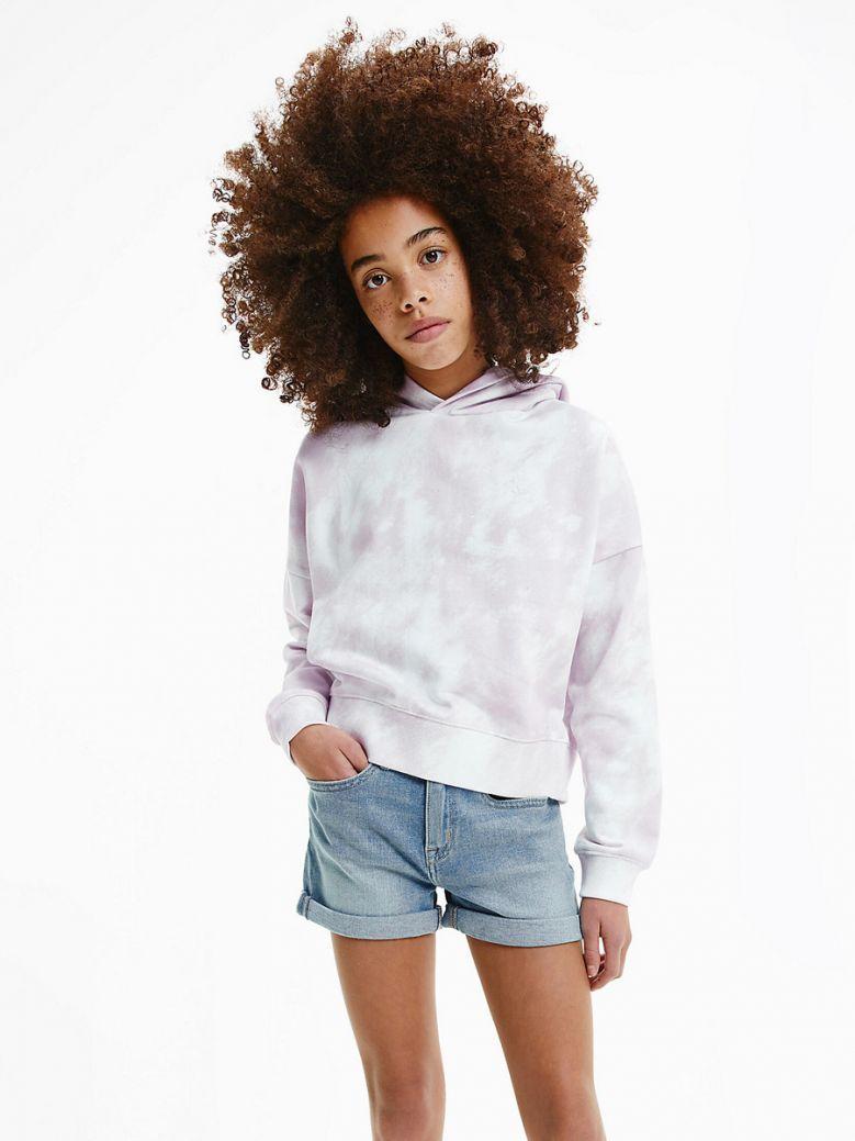 Calvin Klein Jeans Organic Cotton Cloud Print Hoodie Pink