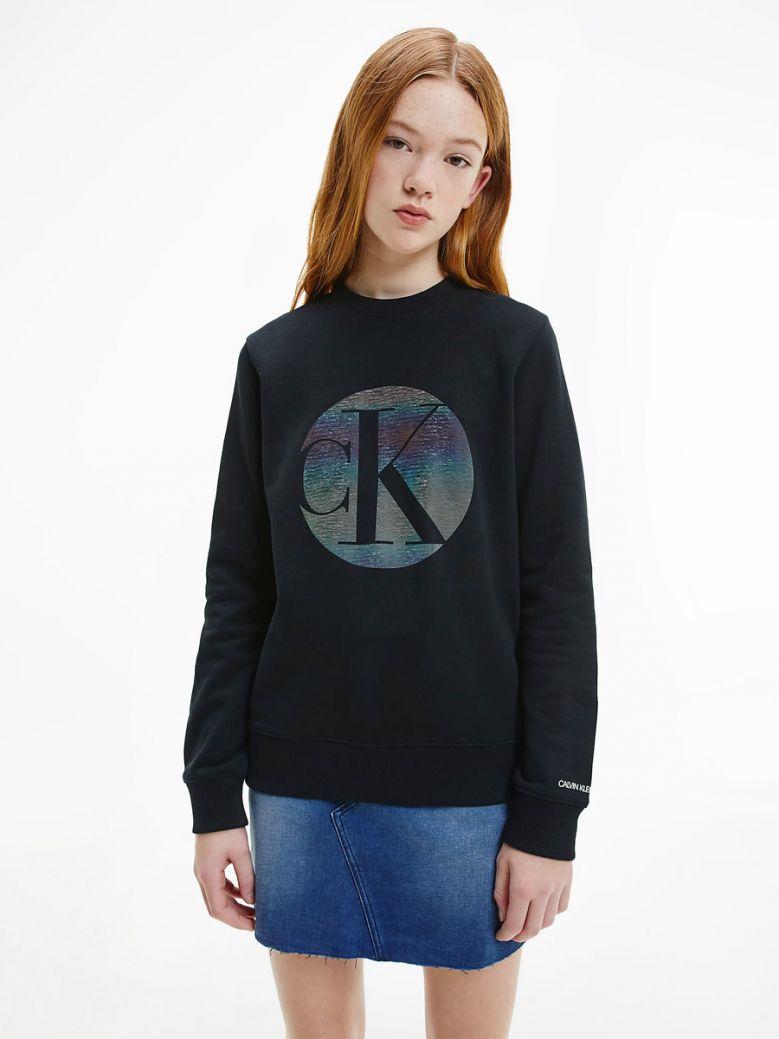 Calvin Klein Jeans Organic Cotton Iridescent Logo Sweatshirt Black