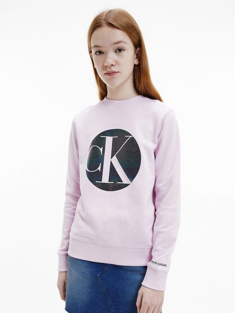 Calvin Klein Jeans Organic Cotton Iridescent Logo Sweatshirt Pink