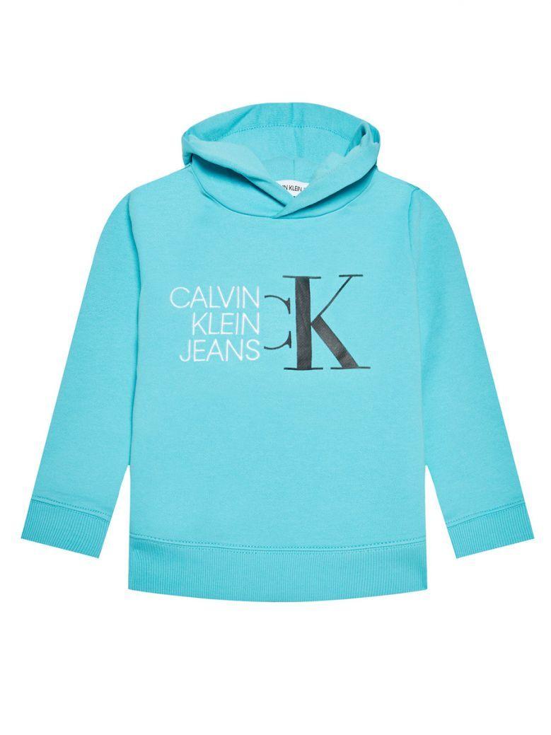 Calvin Klein Jeans Organic Cotton Logo Hoodie Blue