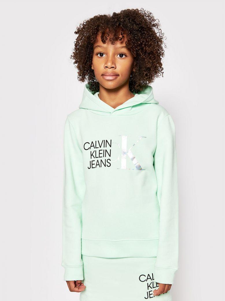 Calvin Klein Jeans Organic Cotton Logo Hoodie Green
