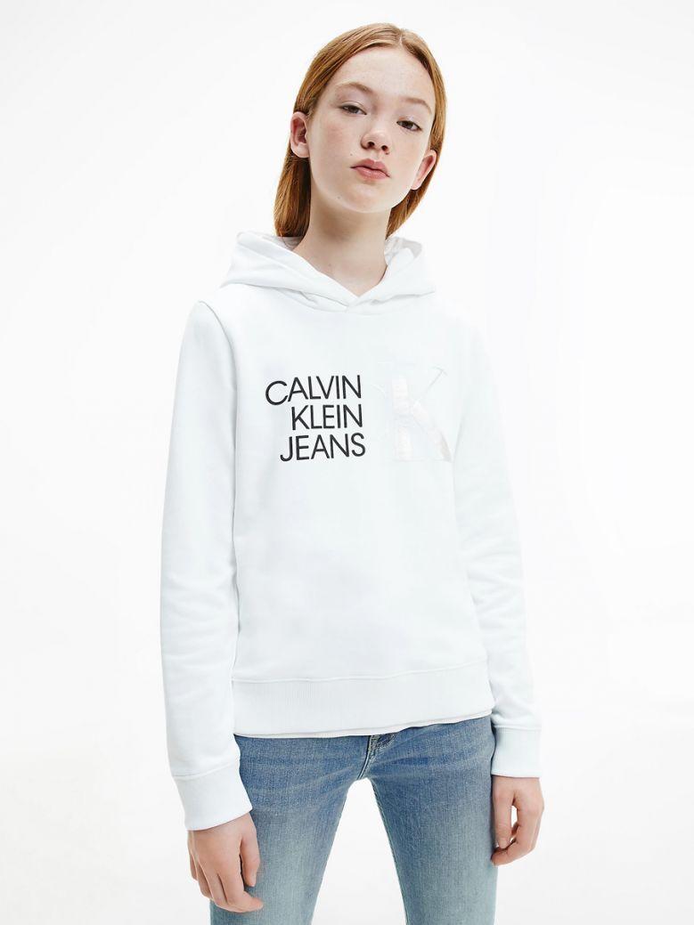 Calvin Klein Jeans Organic Cotton Logo Hoodie White
