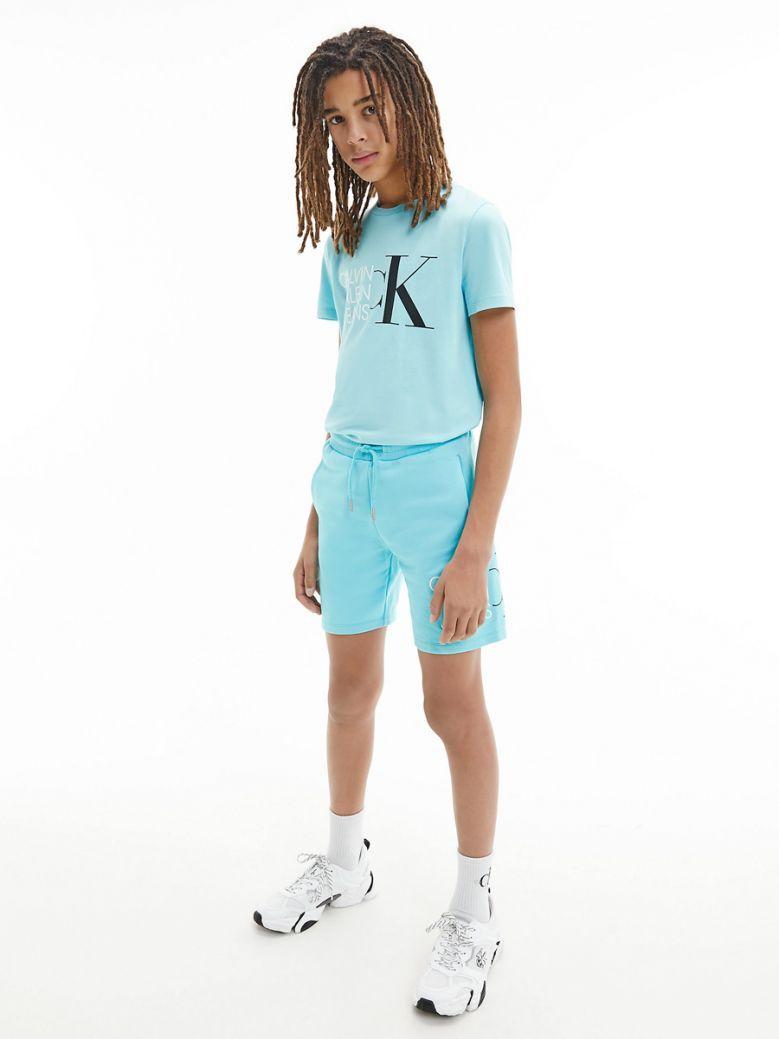 Calvin Klein Jeans Organic Cotton Logo Jogger Shorts Blue
