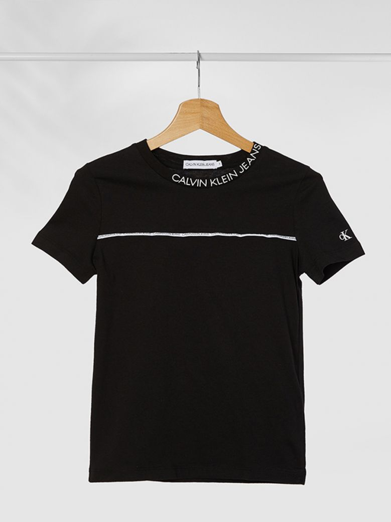 Calvin Klein Jeans Logo Trim Fitted T-Shirt Black
