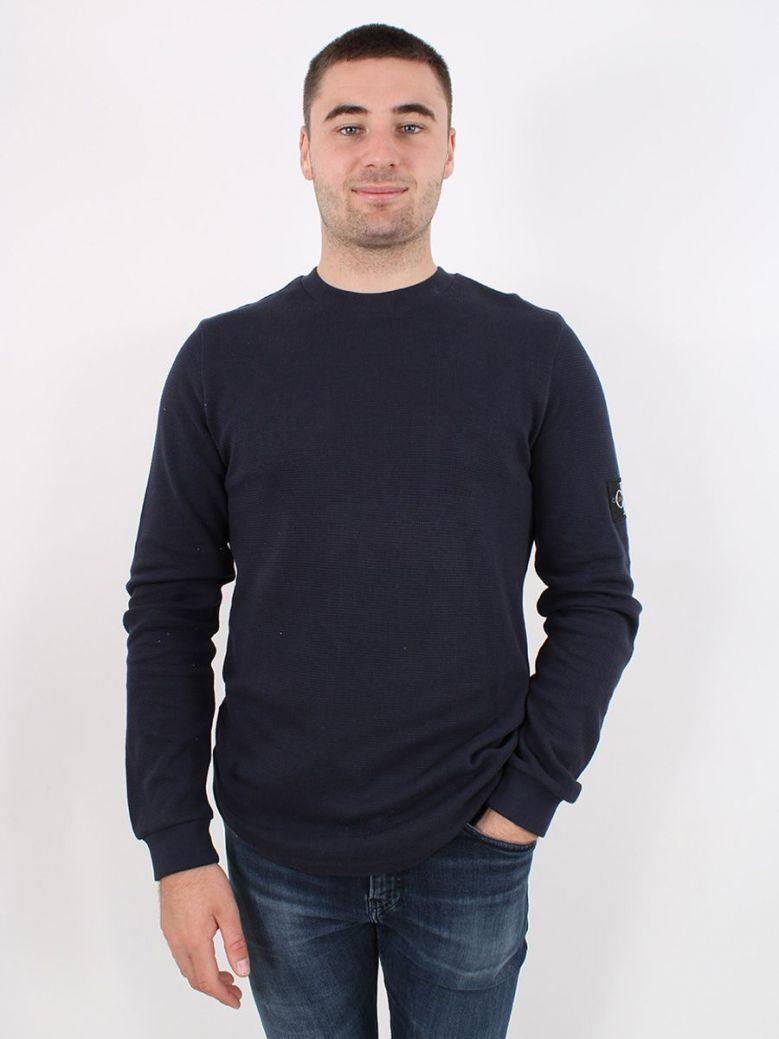 Calvin Klein Long Sleeve Waffle Knit Top Navy