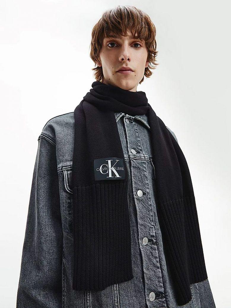 Calvin Klein Mixed Knit Scarf Black