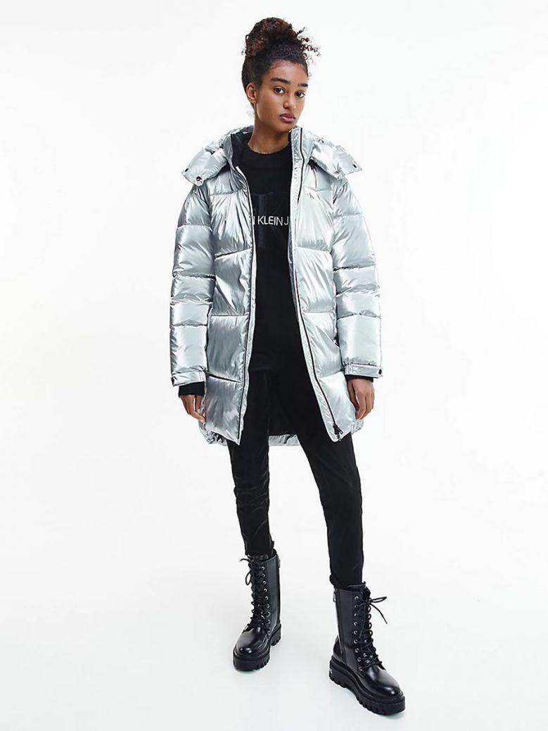 Calvin Klein Jeans Oversized metallic Puffer Coat Silver