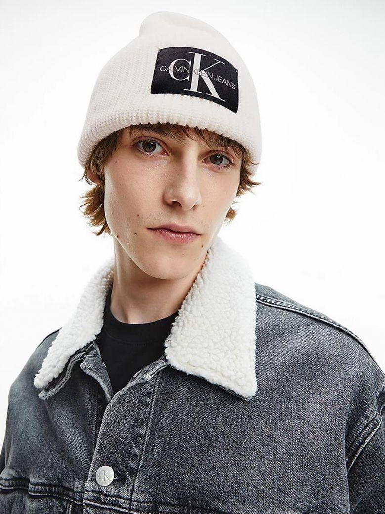 Calvin Klein Wool Blend Beanie White