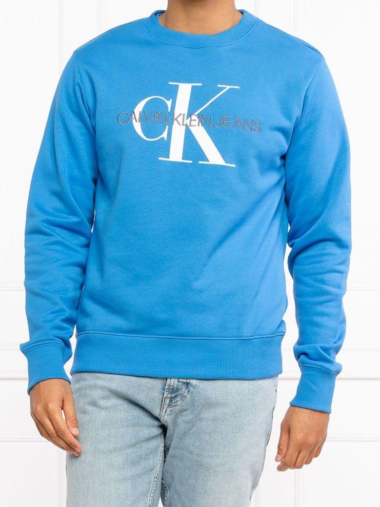 Calvin Klein Jeans Organic Cotton Monogram Sweatshirt Blue