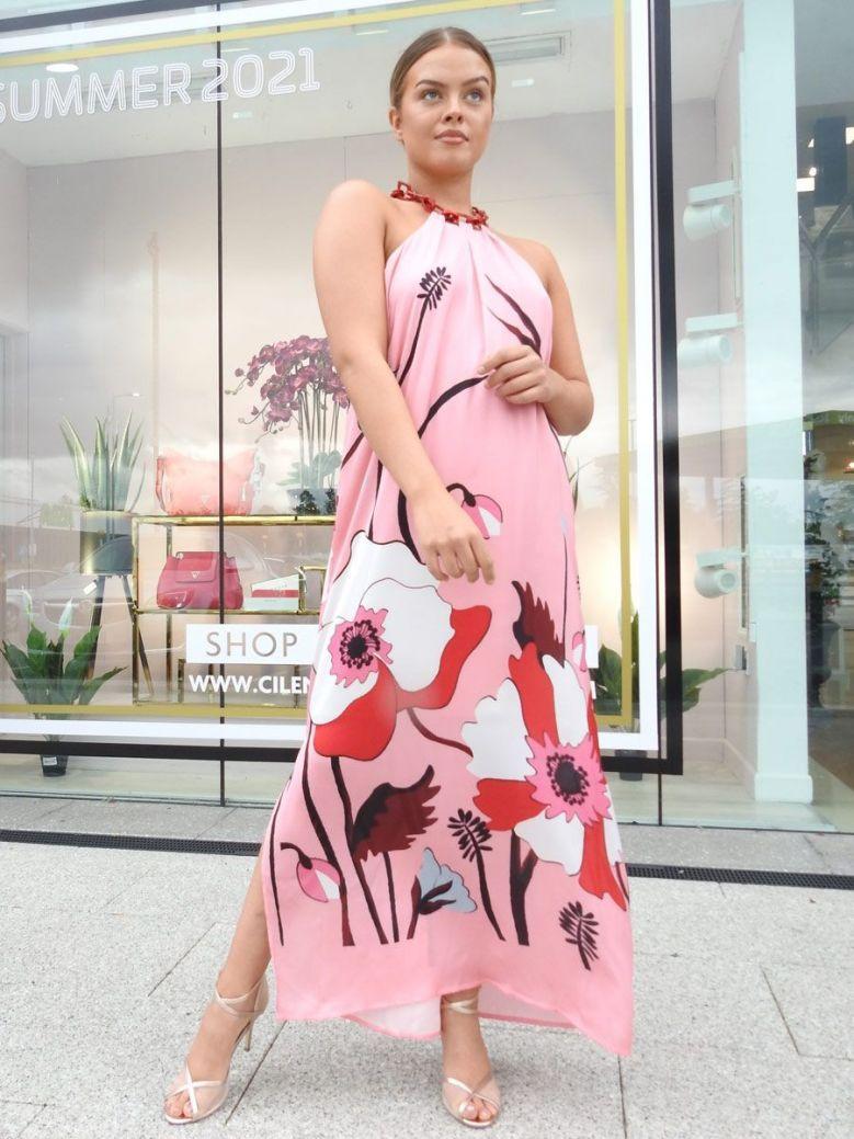 Camelot Flower Print Maxi Dress Pink