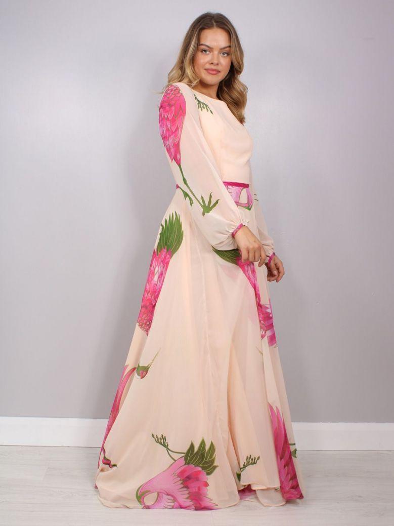 Carla Ruiz Bird Print Maxi Dress, Rosa, Style 96705