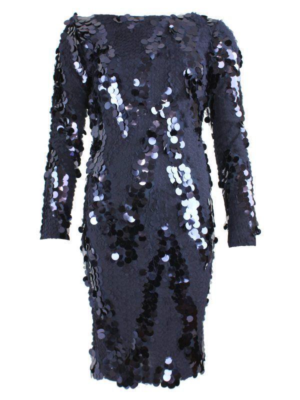 Carla Ruiz Sequin Low Back Dress, Navy, Style 195769