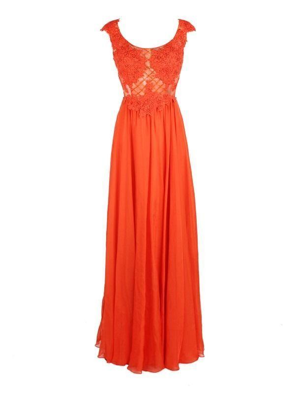 Carla Ruiz Long Lace Dress, Orange, Style 92519