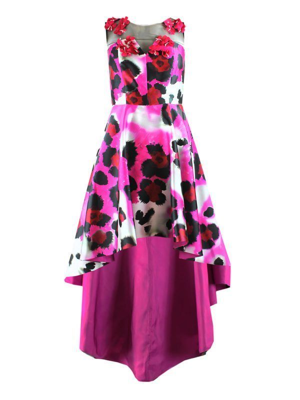 Carla Ruiz Asymmetric Floral Print Dress, Fuchsia, Style 94053