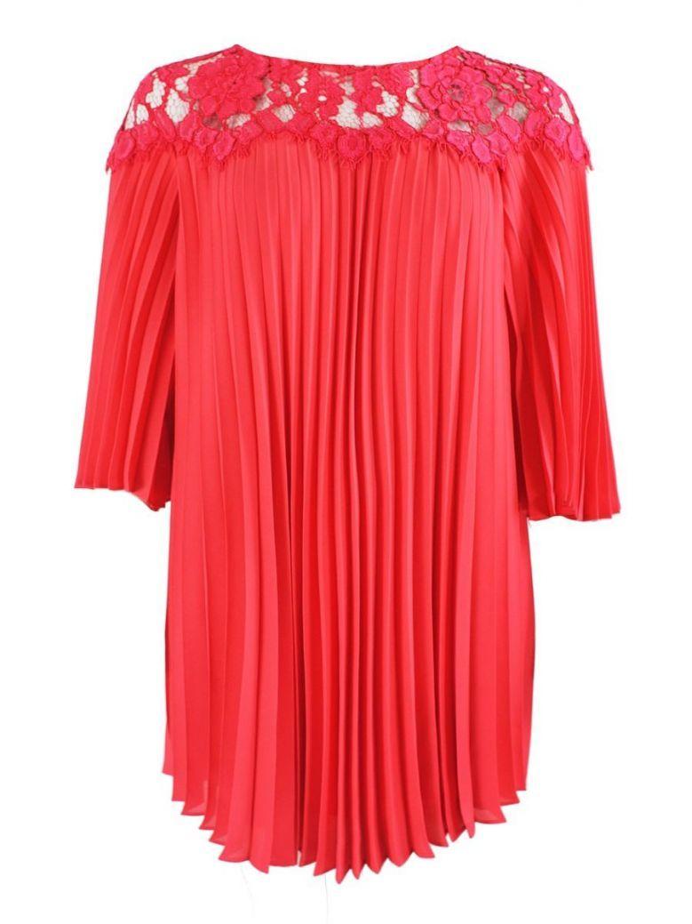 Carla Ruiz Pleated Shift Dress, Red, Style 94064