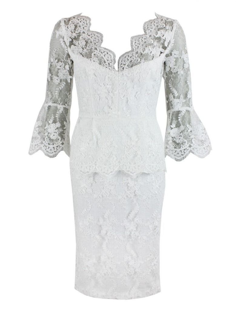 Carla Ruiz Floral Lace Midi Dress, Ivory, Style 94614