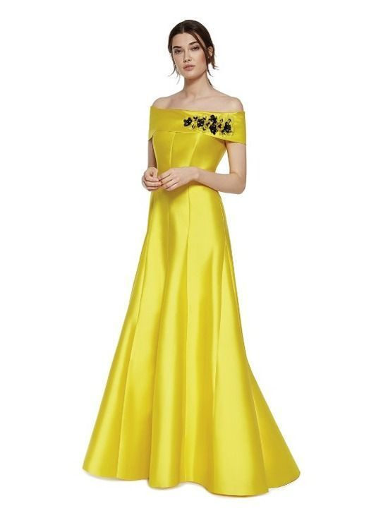 Carla Ruiz Off Shoulder Evening Dress, Yellow, Style 94799