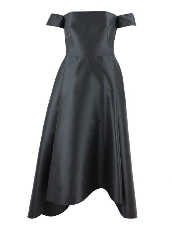 Carla Ruiz Off-Shoulder Fit and Flare Dress, Black, Style 95091
