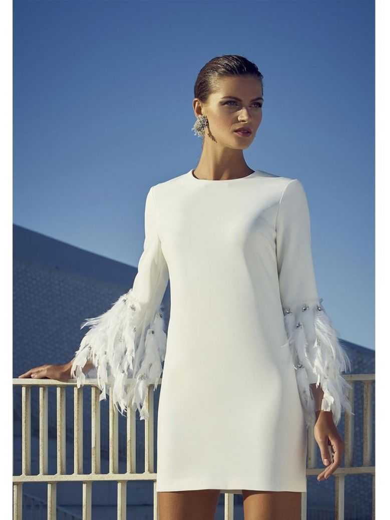 Carla Ruiz Feather Detail Cocktail Dress, Cream, Style 95451