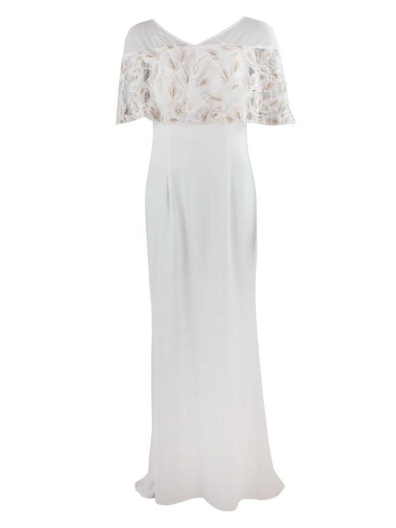 Carla Ruiz Feather Detail Evening Dress, Cream, Style 95618