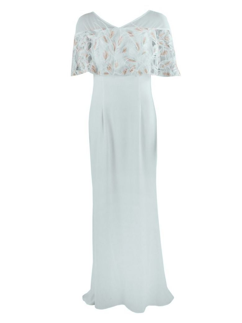 Carla Ruiz Feather Detail Evening Dress, Light Blue, Style 95618