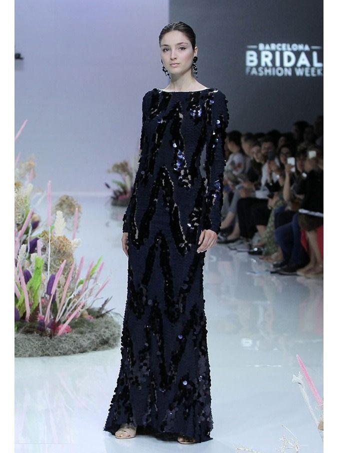 Carla Ruiz Sequin Evening Dress, Navy, Style 95769