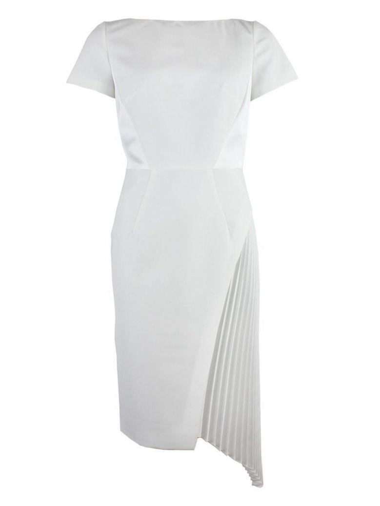 Carla Ruiz Asymmetric Pleated Detail Dress, White, Style 96013