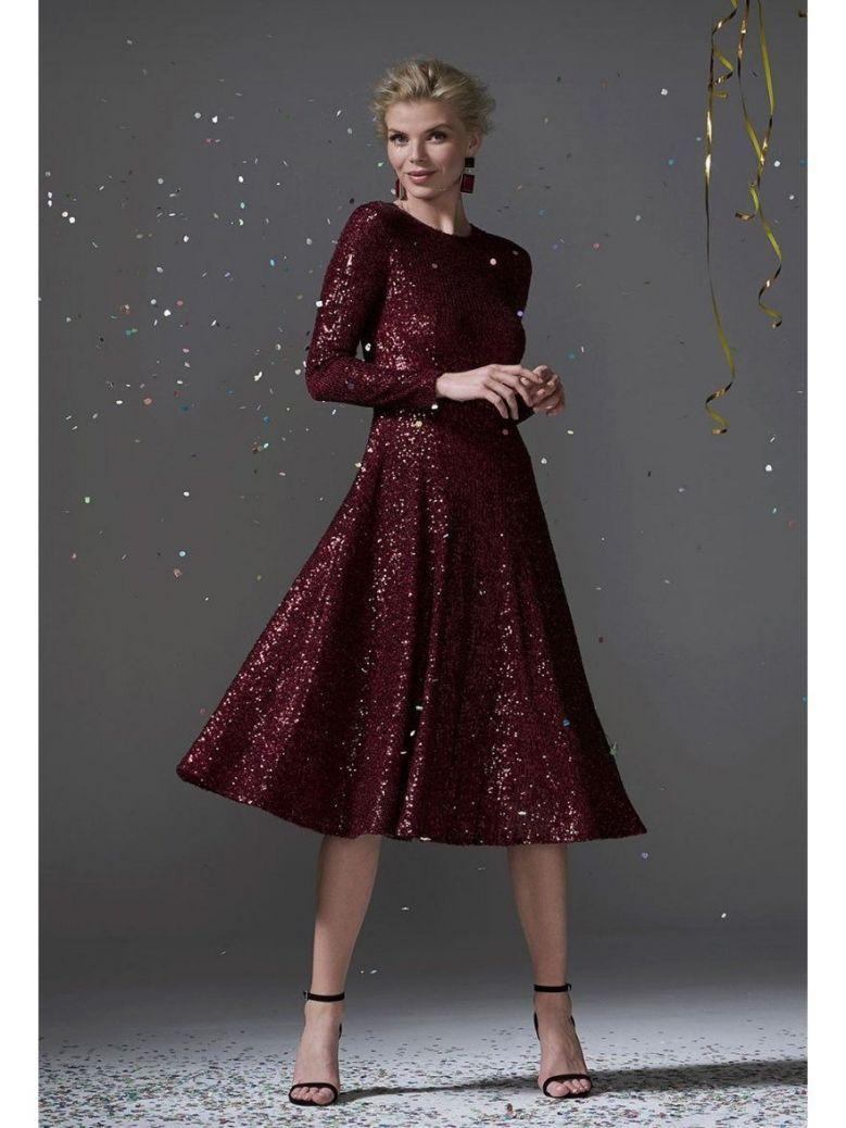 Carla Ruiz Sequin Midi Dress, Burgundy, Style 96096
