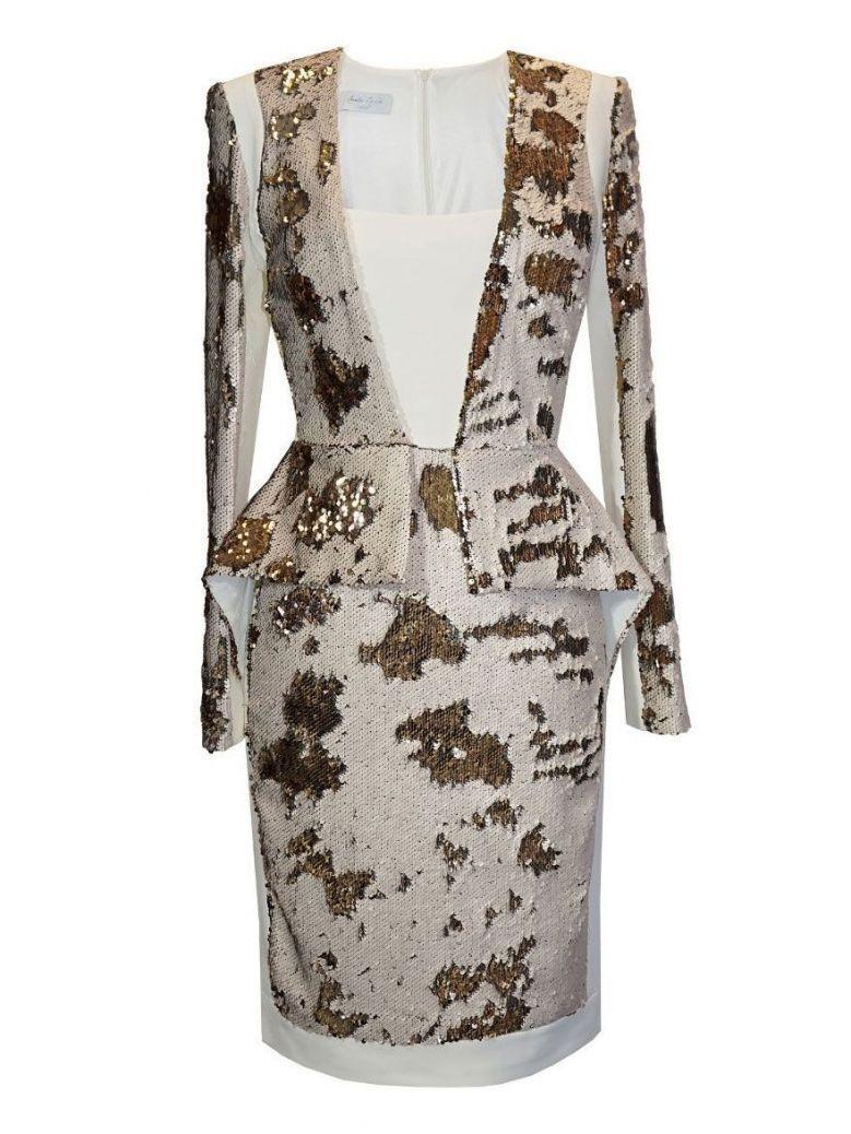 Carla Ruiz Sequin Panel Dress, Cream and Gold, Style 96132