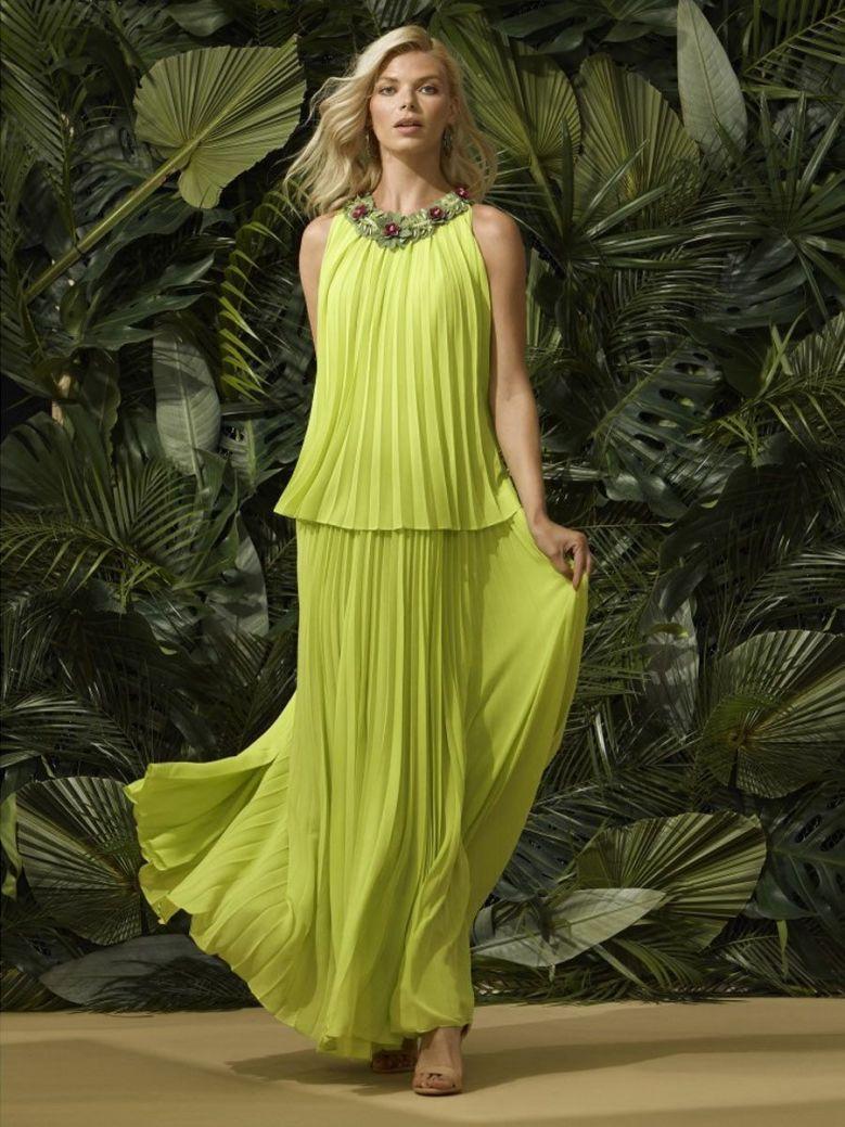 Carla Ruiz Pleated Maxi Dress, Neon Green, Style 96510