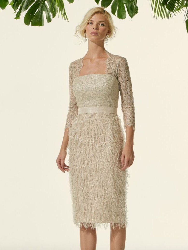 Carla Ruiz Feather and Lace Dress, Gold, Style 96629