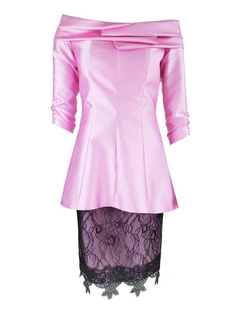 Carla Ruiz Satin and Lace Dress, Pink, Style 96635