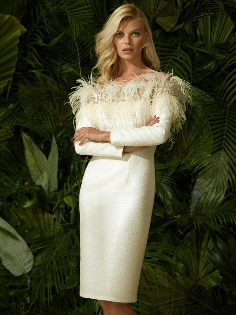 Carla Ruiz Feather Detail Long Sleeved Dress, Champage, Style 96751