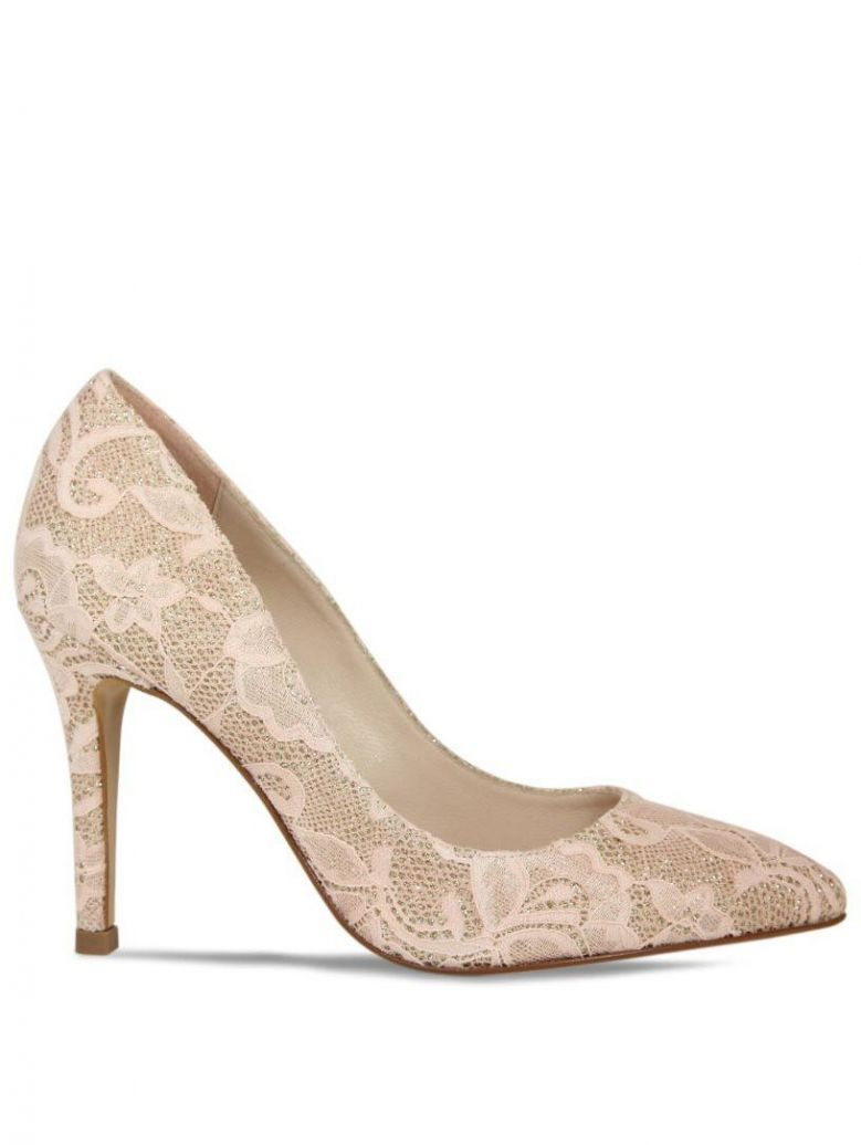 Lisa Kay Peach Lace Cat Heels