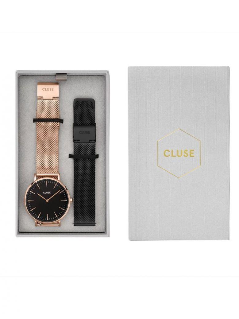 Cluse Rose Gold & Black La Bohème Mesh Watch Gift Set