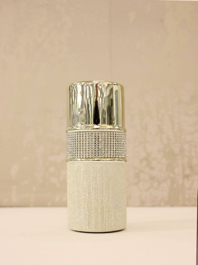 Large 20.5cm Glitz And Champagne Textured Tealight Holder