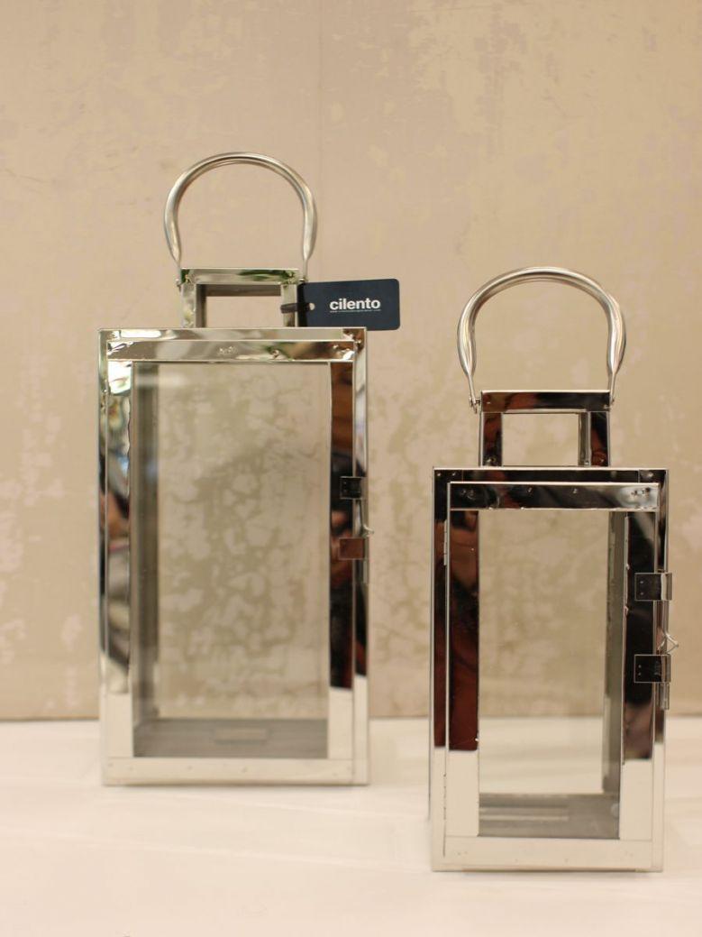 Set Of 2 Stainless Steel Lanterns