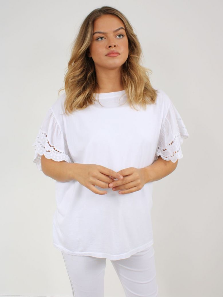Cilento Woman Broderie Butterfly Sleeve Top White