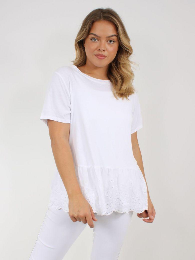 Cilento Woman Broderie Frill Hem Top White