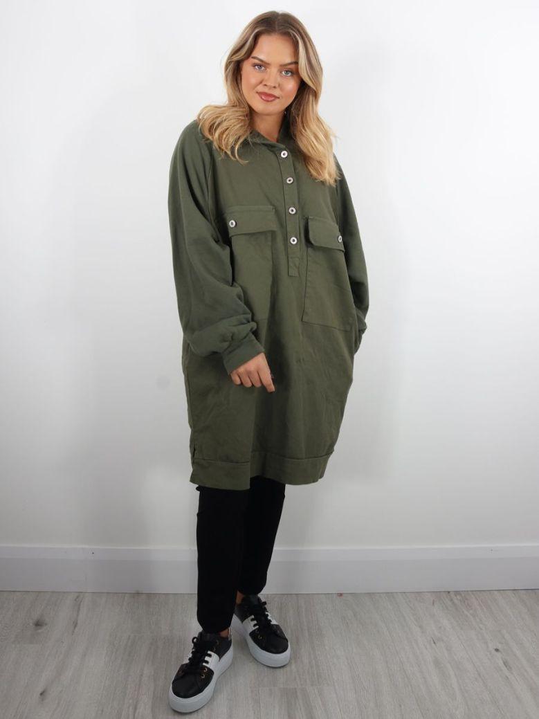 Cilento Woman Denim Hooded Tunic Green