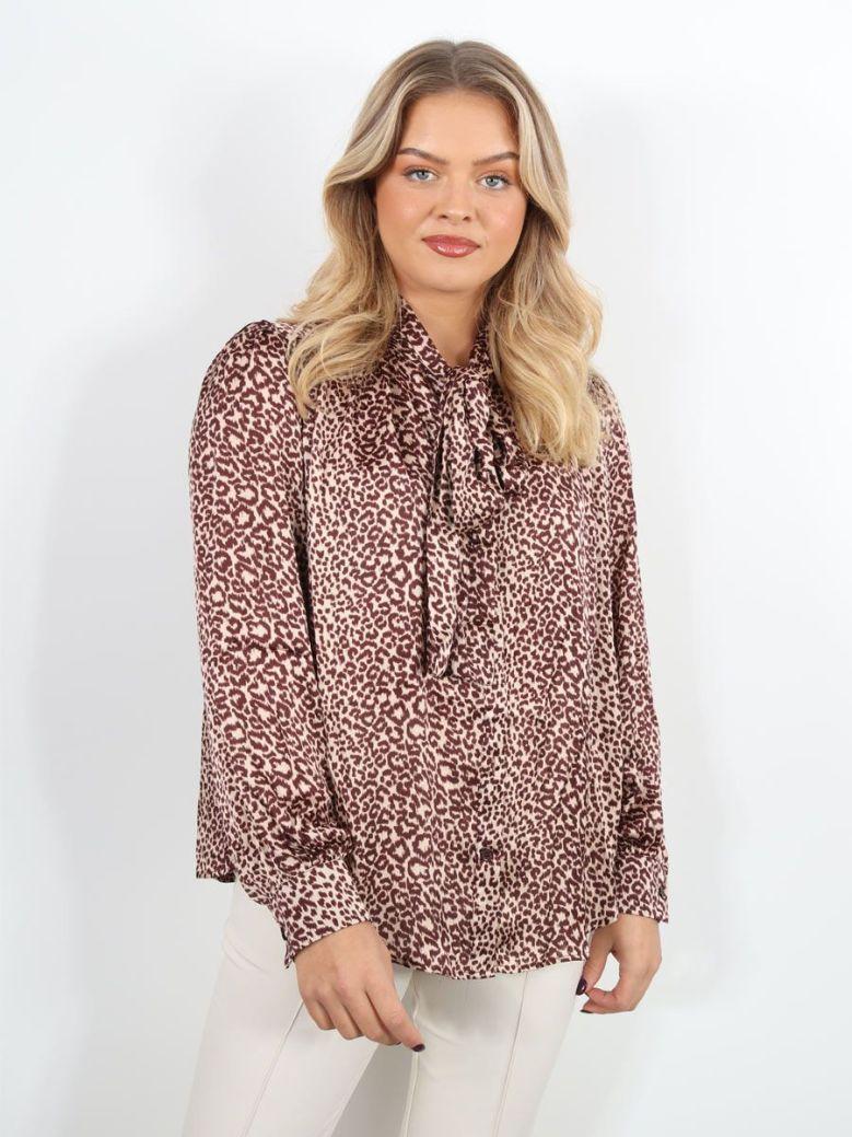 Cilento Woman Leopard Print Blouse Taupe