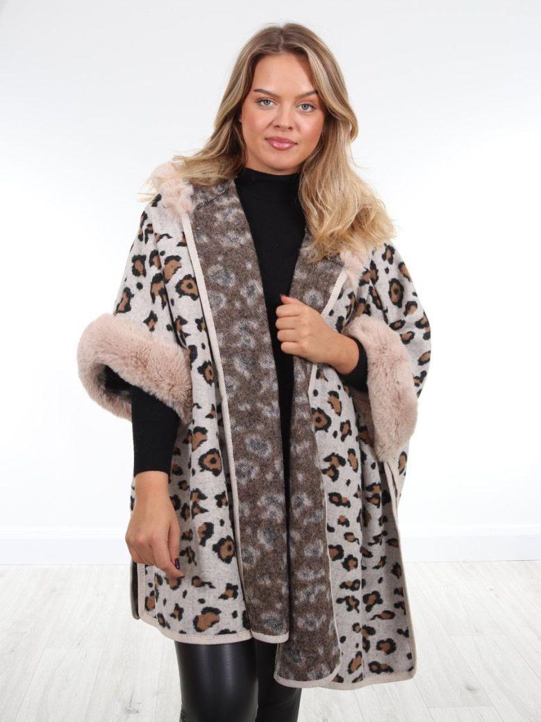 Cilento Woman Leopard Print Hooded Poncho Beige