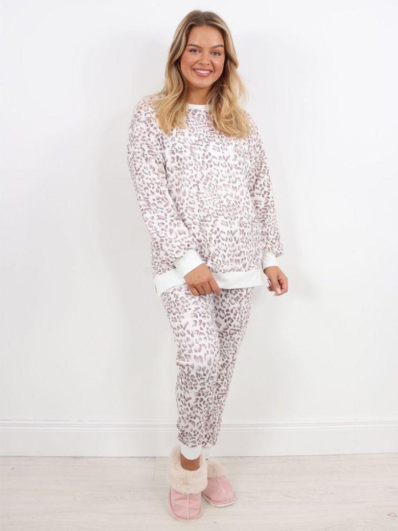 Cilento Woman Leopard Print Pyjamas White