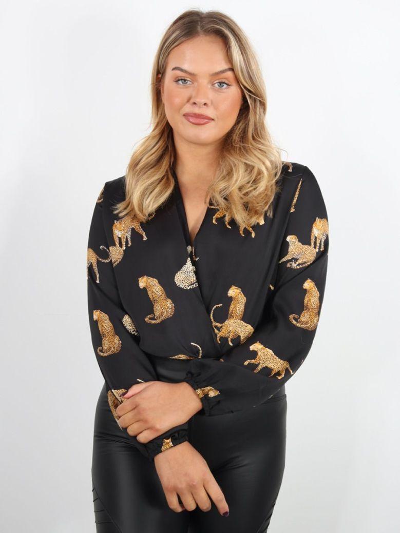 Cilento Woman Leopards Bodysuit Black
