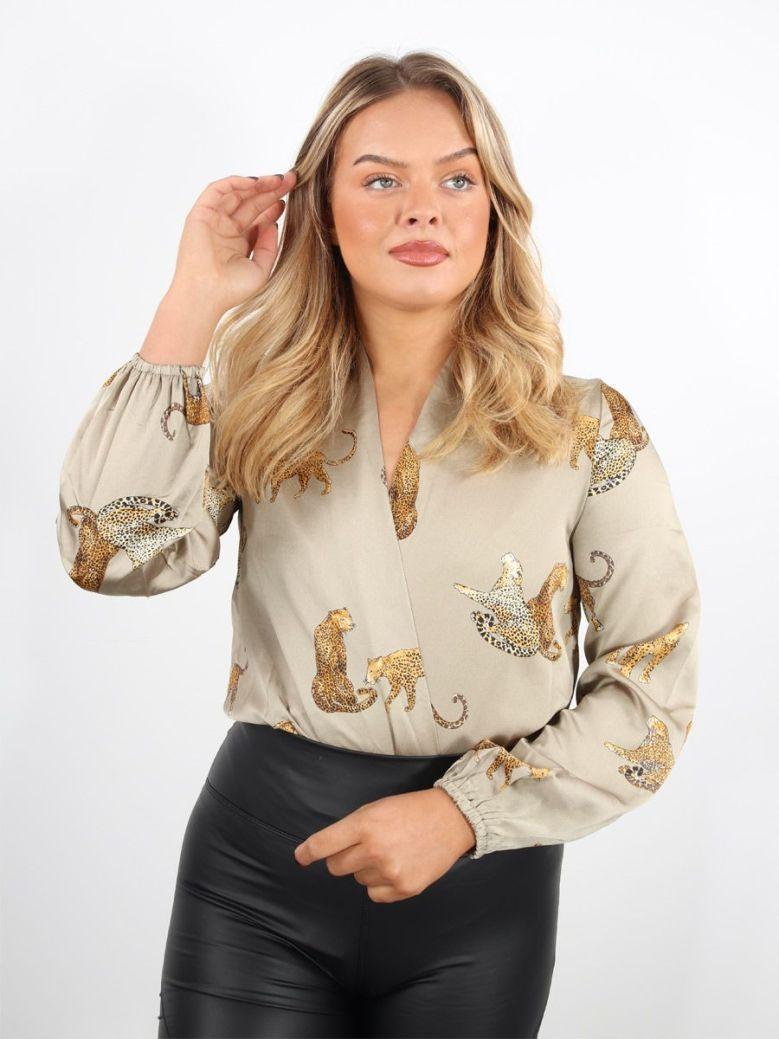 Cilento Woman Leopards Bodysuit Taupe
