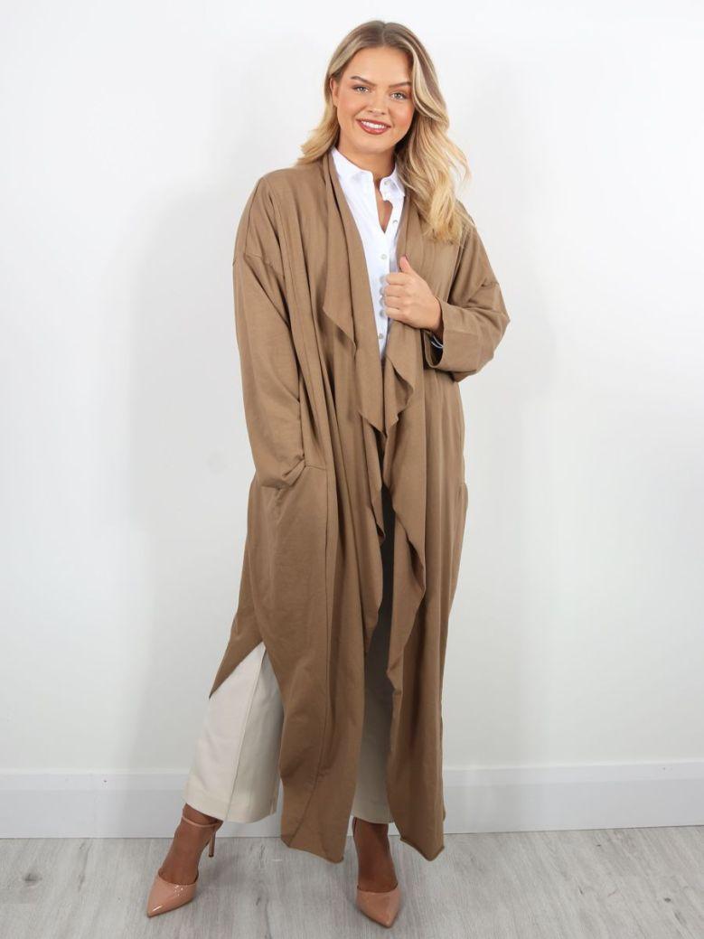Cilento Woman Long Jersey Cardigan Camel