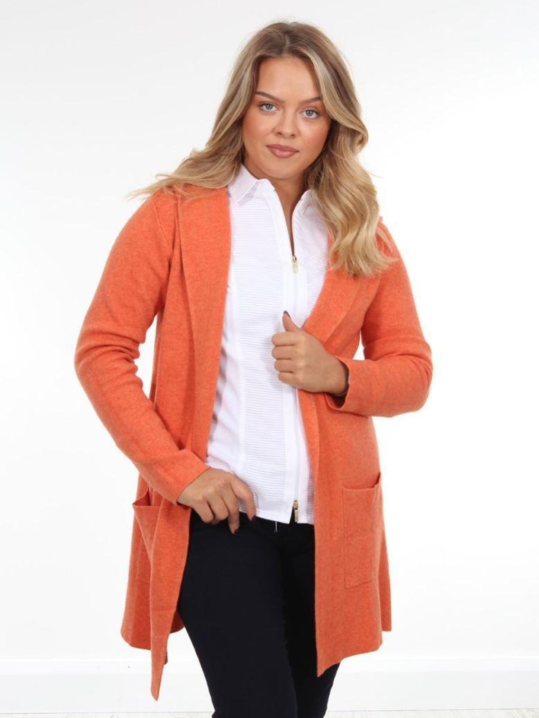 Cilento Woman Longline Hooded Cardigan Orange