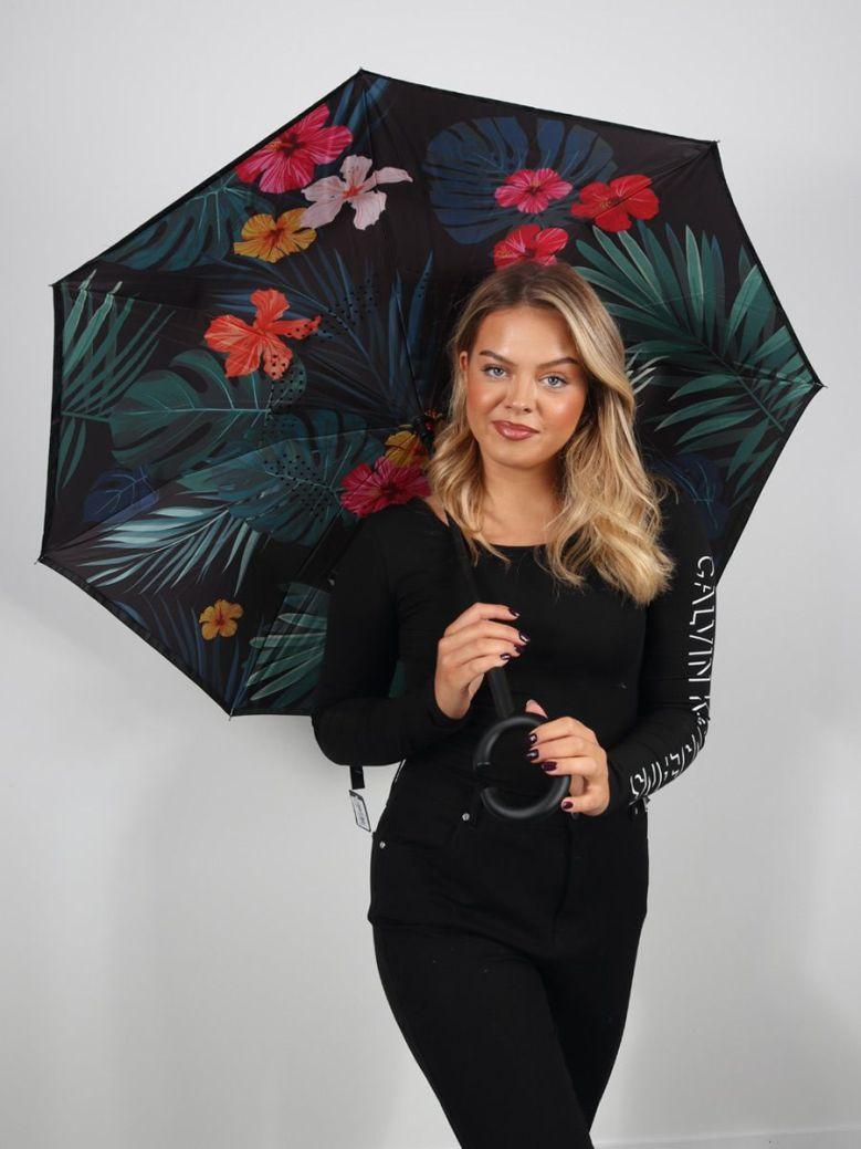 Cilento Woman Reverse Fold Umbrella Tropical Leaves