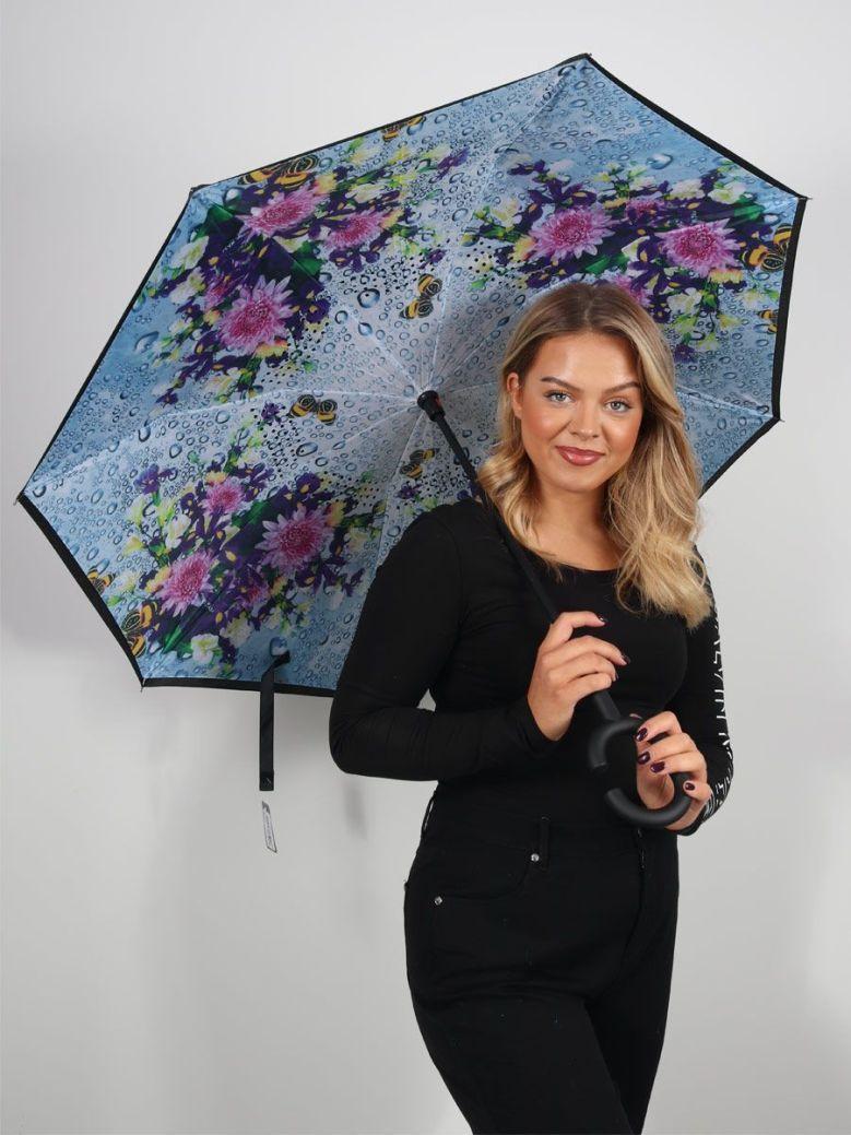 Cilento Woman Reverse Fold Umbrella Garden Butterflies